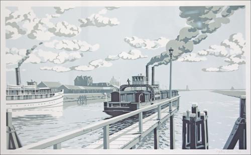 Spoorhaven Enkhuizen, zeefdruk
